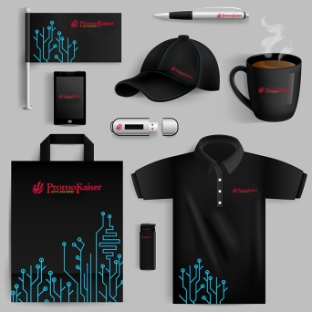 Corporate identity objects set with smartphone lighter cup with technology pattern isolated vector illustration